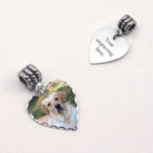 Photo Charm on Bail with Engraving - Heart